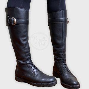 vintage Gucci Black Leather Lace-up Combat Boots